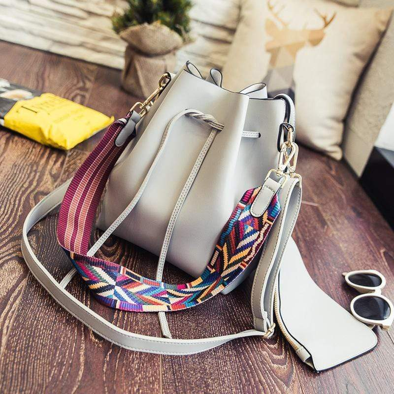 Horizon Care Colorful Ribbon Strap Drawstring Bucket Bag
