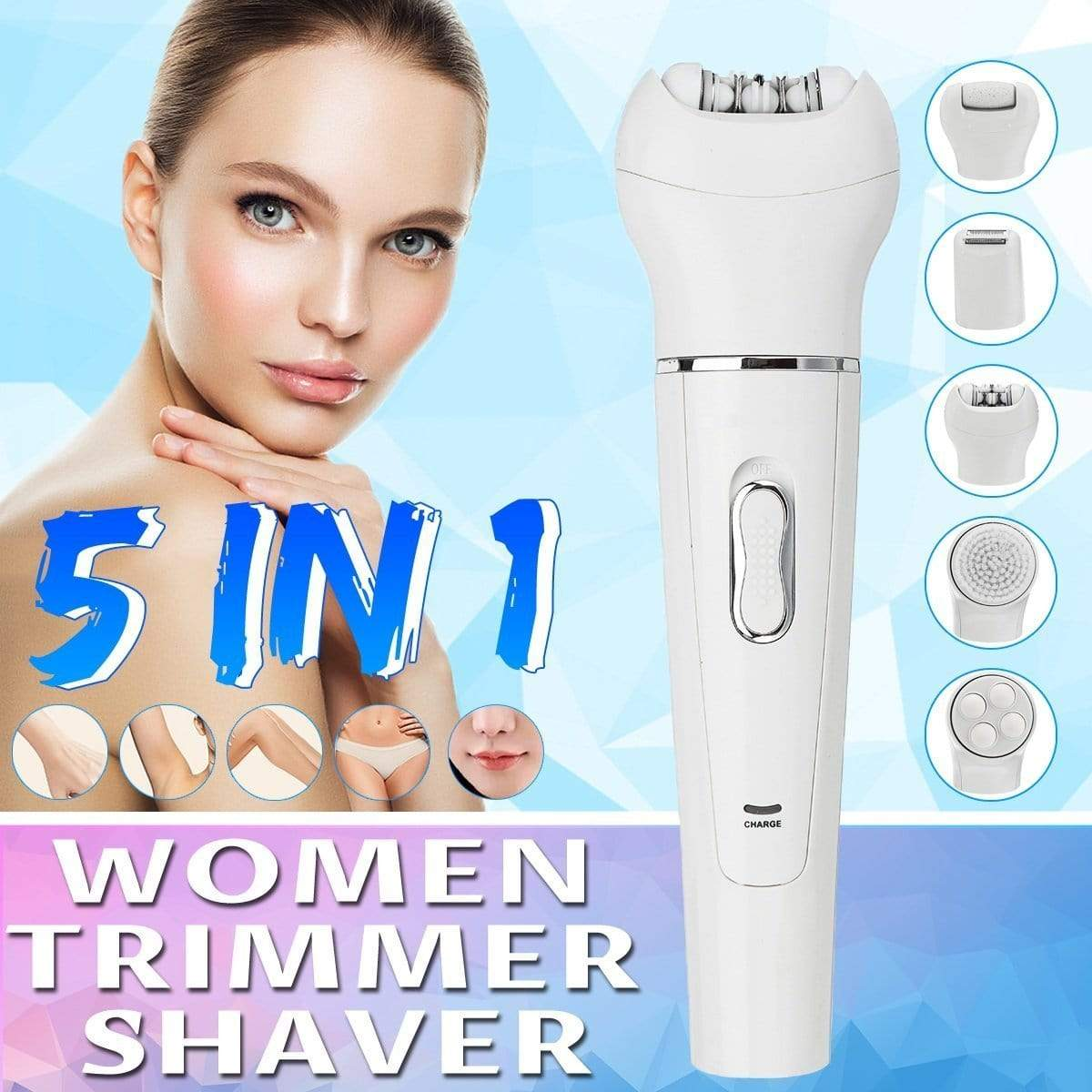 Horizon Care Hair Removal 5 in 1 Epilator with Facial Cleansing Brush Leg Shaver Bikini Trimmer Eyebrows Cordless Electric Skin Care