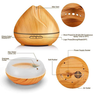 Horizon Care Wood Grain Humidifier with LED Lamp