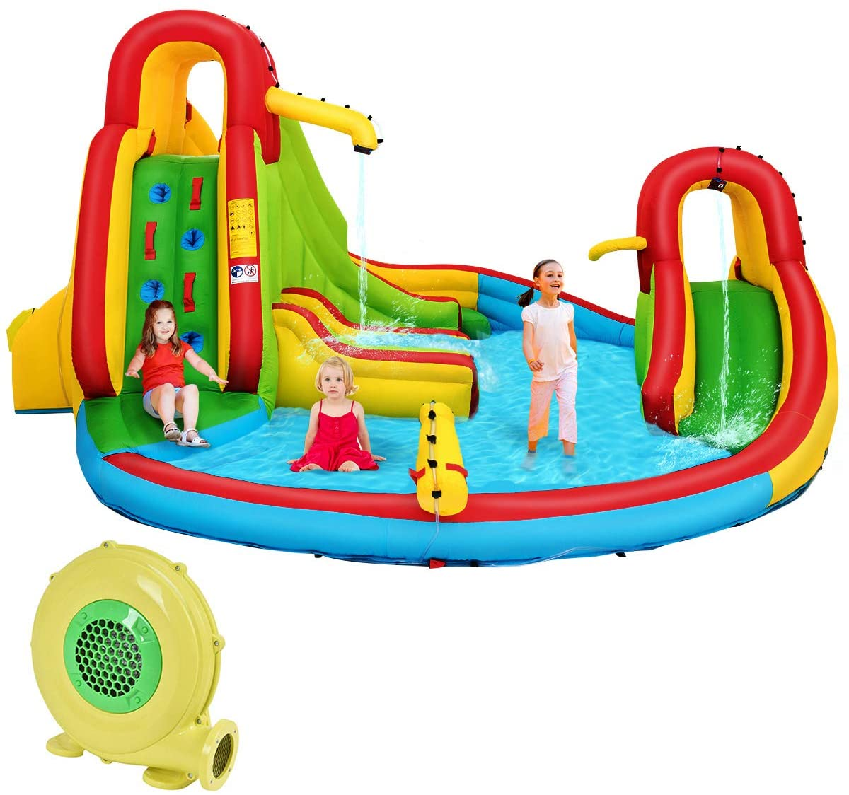 Horizoncare.in Inflatable Water Slide Bounce Park Splash Pool with Water Cannon & 680W Blower