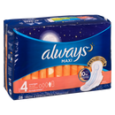 Always 28's Maxi Size 4 Overnight Unscented