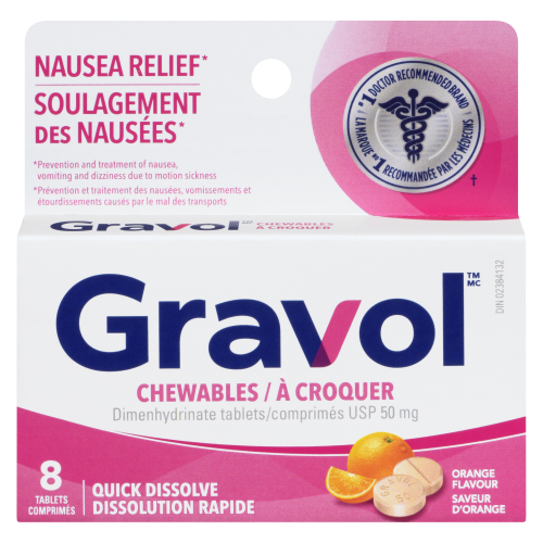 Gravol 50mg 8 Tablets Chewable