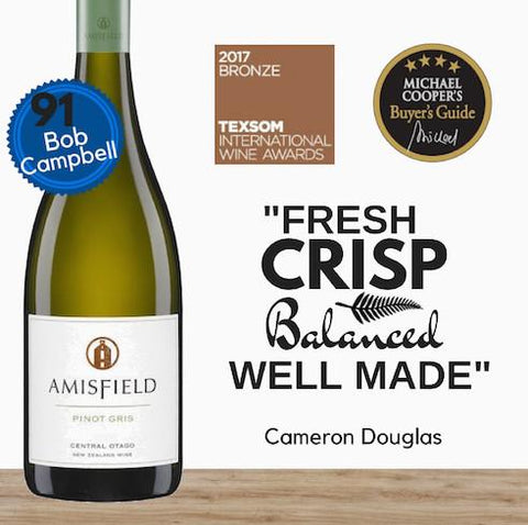Amisfield Pinot Gris 2016 from Central Otago, New Zealand. Award winning Pinot Gris available in Singapore from Pop Up Wine. Same day delivery free for 2 dozen.
