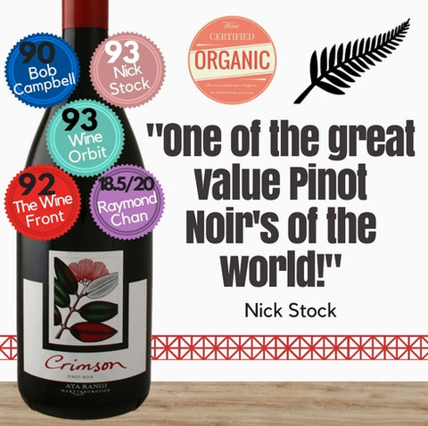 Extremely good Organic Ata Rangi Crimson Pinot Noir 2016 from one of New Zealands's star producer. Pop Up Wine. Same day delivery free for 2 dozen.