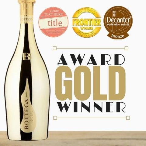 Gold bottle wine. Celebrate with this premium Italian Prosecco. The perfect gift. Gold medal winning sparkling wine by Bottega. Buy wines online~ Pop Up Wine Singapore Same day delivery. Free delivery for 2 doz.