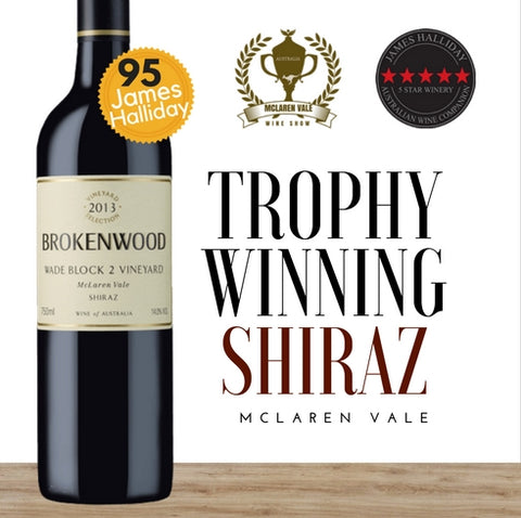 2013 Brokenwood Wade Block 2 Vineyard Shiraz~established by Australia's leading wine critic. Pop Up Wine ~ same day delivery.Free delivery for 2 doz.Buy online.