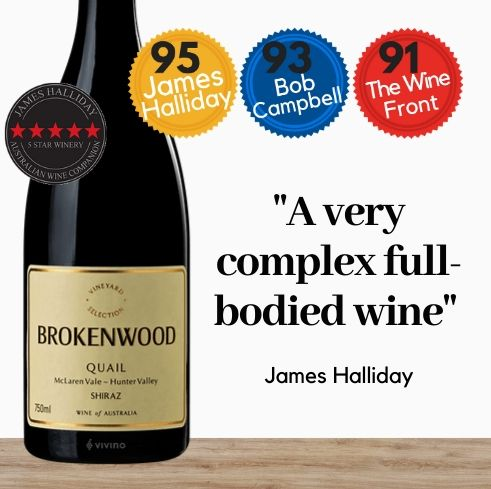 Brokenwood Quail Shiraz 2015 ~ Hunter Valley NSW and McLaren Vale SA, Australia