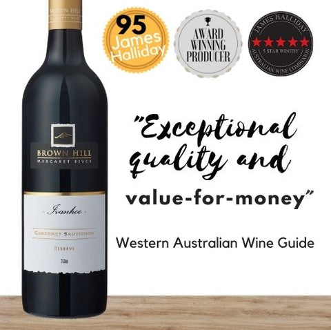 Premium red wine from Australia. Brown Hill Ivanhoe Reserve Cabernet Sauvignon. Available online from Pop Up Wine, Singapores favourite online wine retailer. Same day contactless delivery & free for over 2 dozen bottles.