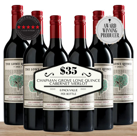 Buy this 6 pack of Chapman Grove Lone Quince Cabernet Merlot from Pop Up Wine, Singapore's favourite online wine store. Buy in bulk and save. Perfect box of champagne for events, parties, weddings, and gifts. Same-day wine and champagne delivery today to your door.