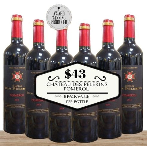 Super Value - 6 pack of Chateau Des Pèlerins Pomerol 2014. Buy the wine now from Pop Up Wine, Singapore's favourite online wine store. Wine delivery today to your door. We are the only same-day, 7 day a week wine store to offer contactless wine delivery. Free wine delivery for any 24 wines or more. Buy by the carton and box for events and get the lowest priced wine in Singapore. Buy bulk wine for parties, events, weddings, openings, launches, family reunions, Chistmas, Chinese New Year and work events.