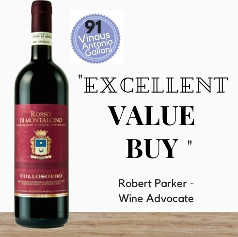 Highly rated Italian 'Rosso di Montalcino' Sangiovese - 2018 by Collosorbo from Tuscany, discount available online from Pop Up Wine, Singapores favourite online wine retailer. Same day delivery & free for over 2 doz