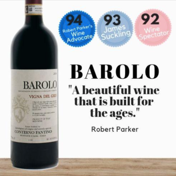 Premium Italian Conterno Fantino red wine. Highly rated Nebbiolo from the Barolo region of Italy. Available online from Pop Up Wine, Singapores favourite online wine retailer. Same day delivery & free for over 2 dozen bottles.