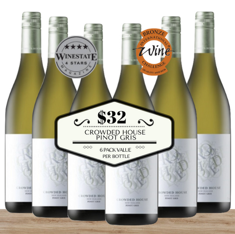 Buy this 6 pack of Crowded House Pinot Gris  from Pop Up Wine, Singapore's favourite online wine store. Buy in bulk and save. The perfect box of champagne for events, parties, weddings, and gifts. Same-day wine and champagne delivery today to your door.