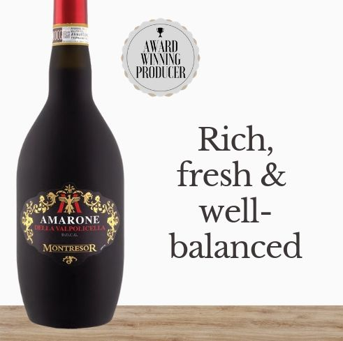 Buy this Silver Sommelier Wine winning Italian red wine - Giacomo Montresor Amarone Della Valpolicella 'Satinato' 2015 online today. Delivered same day. A classic Valpolicella