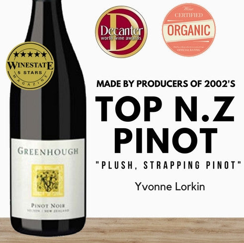 Silver medal winner. Greenhough Organic Pinot Noir 2015. Red wine from New Zealand. Same day delivery. Pop Up Wine online. Best Singapore affordable wine store