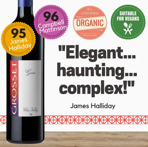 Exceptionally highly rated organic red wine from Jeffrey Grosset. Same day delivery. Free for any 2 dozen. Pop Up Wine. Singapore wine store. Buy online wine.