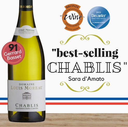 Louis Moreau Chablis (Chardonnay) 2014. Award winning French wine available online from Pop Up Wine Singapore ~low price store. Delivers same day, everyday.