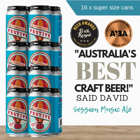 16x generous environmental-friendly 375ml award-winning Festive Session Ale by Australia's Otherside Brewing brought to you by Pop Up Wine Singapore.  Fast same day delivery Order online now.