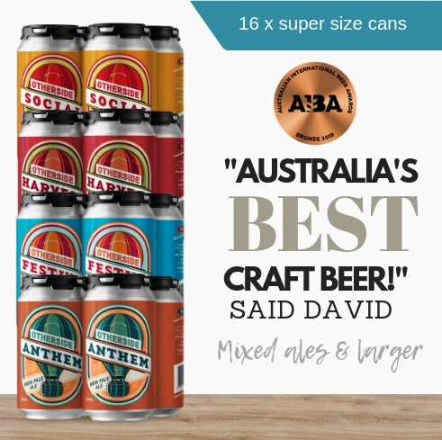 Buy this mixed beer 16x pack from award-winning Australian craft beer from Otherside Brewing.  Brought to you by Pop Up Wing Singapore.  Fast same day delivery.  Order online now.