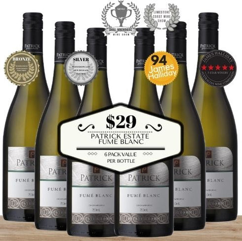 Super Value - 6 pack of Patrick Estate Fume Blanc 2016. Buy the wine now from Pop Up Wine, Singapore's favourite online wine store. Wine delivery today to your door. We are the only same-day, 7 day a week wine store to offer contactless wine delivery. Free wine delivery for any 24 wines or more. Buy by the carton and box for events and get the lowest priced wine in Singapore. Buy bulk wine for parties, events, weddings, openings, launches, family reunions, Chistmas, Chinese New Year and work events.