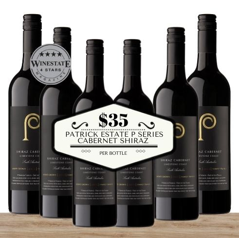 Buy this 6 pack of Patrick Estate P Series Cabernet Shiraz from Pop Up Wine, Singapore's favourite online wine store. Buy in bulk and save. Perfect box of champagne for events, parties, weddings, and gifts. Same-day wine and champagne delivery today to your door.