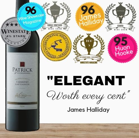 One of Australia's leading wine Patrick Estate Grande Reserve Cabernet Sauvignon 2010 by Patrick Tocaciu of Coonawarra South Australia. Buy wine online Singapore's low price store Pop Up Wine. Free delivery for 2 dozen.