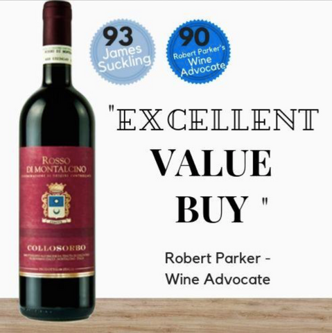 Highly rated Italian 'Rosso di Montalcino' Sangiovese - 2017 by Collosorbo from Tuscany, discount available online from Pop Up Wine, Singapores favourite online wine retailer. Same day delivery & free for over 2 doz