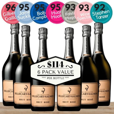 Billecart Salmon Brut Rosé NV Champagne, France - 6 Pack Value