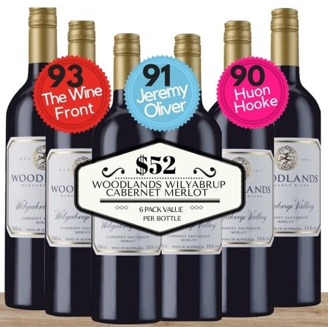 Buy this 6 pack of Woodlands Wilyabrup Cabernet Merlot from Pop Up Wine, Singapore's favourite online wine store. Buy in bulk and save. The perfect box of champagne for events, parties, weddings, and gifts. Same-day wine and champagne delivery today to your door.