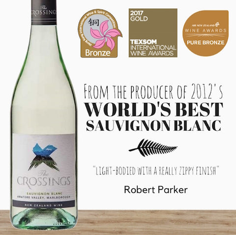 "Yealands ""The Crossings"" Sauvignon Blanc 2016. Top New Zealand Sauvignon Blanc available in Singapore from Pop Up Wine. Free Online Wine Delivery on 2 dozen"
