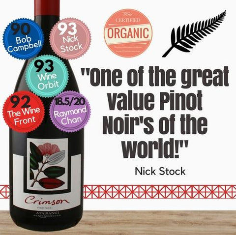 Extremely good Organic Ata Rangi Crimson Pinot Noir 2016 from one of New Zealands's star producer. Pop Up Wine. Same day delivery free for 2 dozen