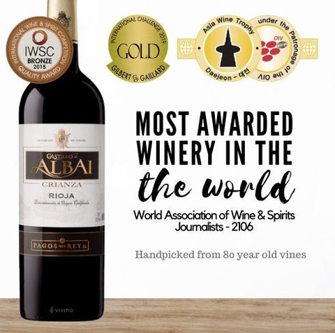 Buy this red wine from the most awarded winery in the world. Two gold medals for this Spanish Rioja. Available online from Pop Up Wine, the premiere online wine retailer in Singapore. get Same-day contactless wine delivery today. Free wine delivery available.