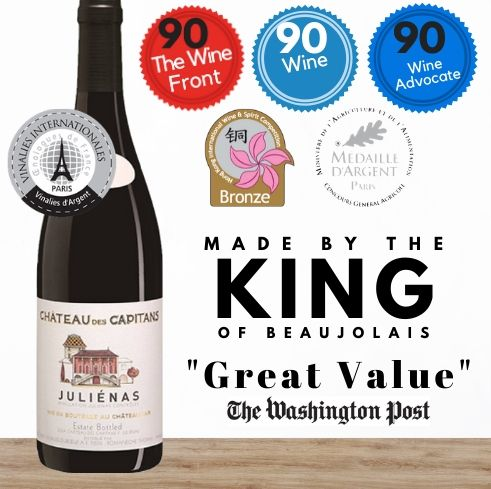 Multi-awarded Chateau des Capitans Julienas Georges Duboeuf 2015, Beaujolais from France.  Buy online from Singapore's favourite wine store, Pop Up Wine. Same day and free delivery available. We offer contactless delivery & free delivery for any 24 bottles. Buy this and get this award winning French red wine delivered today. We deliver wine 7 days a week, even on Sundays.