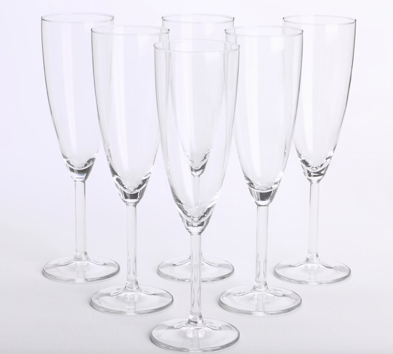 Champagne  Flute Glass Hire Events - 6 Glasses