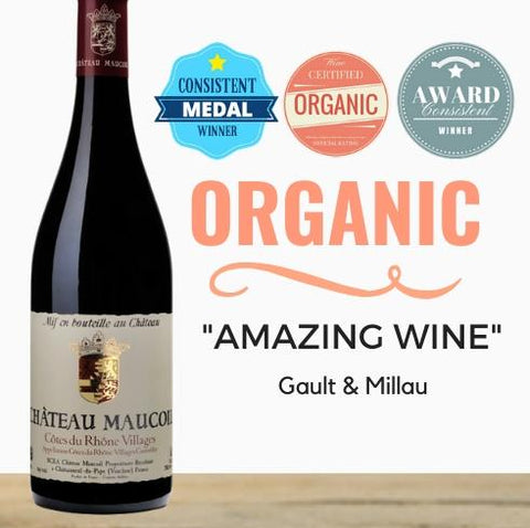 "Organic and biodynamic wine from France. Maucoil Côtes du Rhône Village Rouge 2018. Jancis Robinson ~ ""Amazing wine"". Pop Up Wine Singapore. Delivering same day"