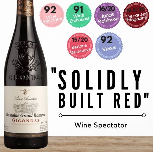 Multi-awarded winning Pierre Amadieu Grande Romane OV Gigondas 2016, from France's best valuable wine-growing regionm the Rhone valley.  Buy online from Singapore's favourite wine store, Pop Up Wine. Same day and free delivery available. We offer contactless delivery & free delivery for any 24 bottles. Buy this and get this award winning French red wine delivered today. We deliver wine 7 days a week, even on Sundays.