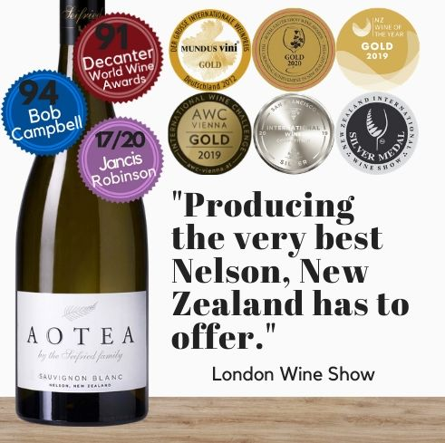 This five gold awarded Sauvignon Blanc from Nelson, New Zealand is available for delivery in Singapore today. This exceptional white wine from Seifried Aotea winery is available online from Pop Up Wine, Singapore's favourite online wine retailer. Same day contactless delivery & free for over 2 dozen bottles.