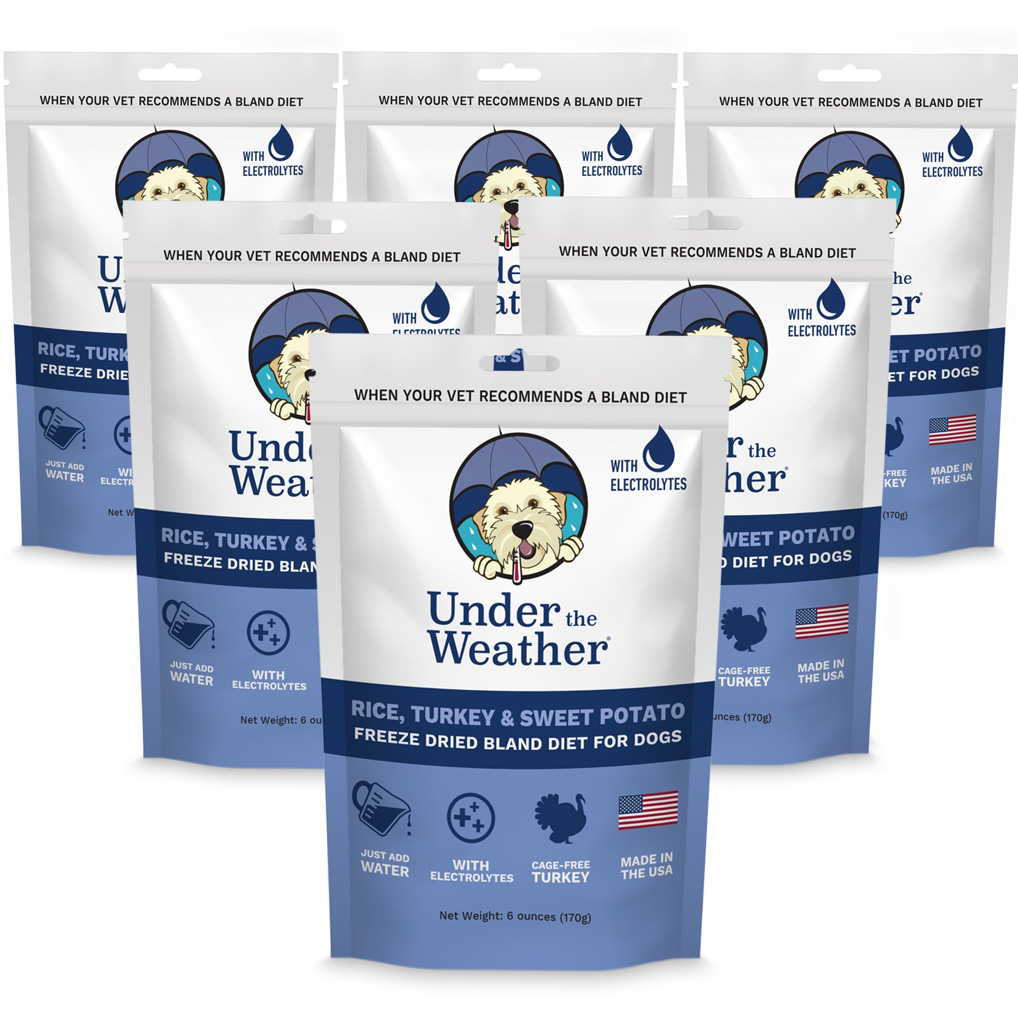 Turkey, Rice, & Sweet Potato Bland Diet For Dogs - 6 pack