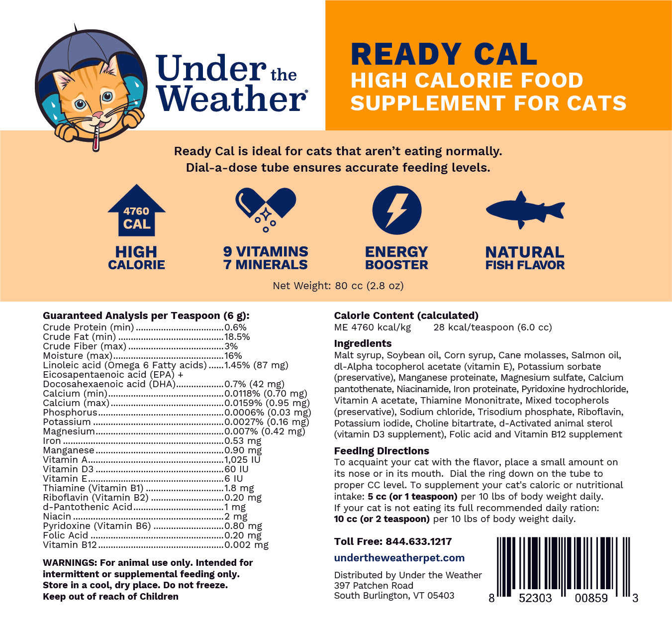 Ready Cal High-Calorie Supplement For Cats - 80cc
