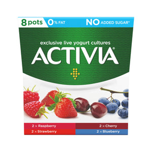Activia 0% Fat Raspberry, Cherry, Strawbery, Blueberry 2 x 8 pack