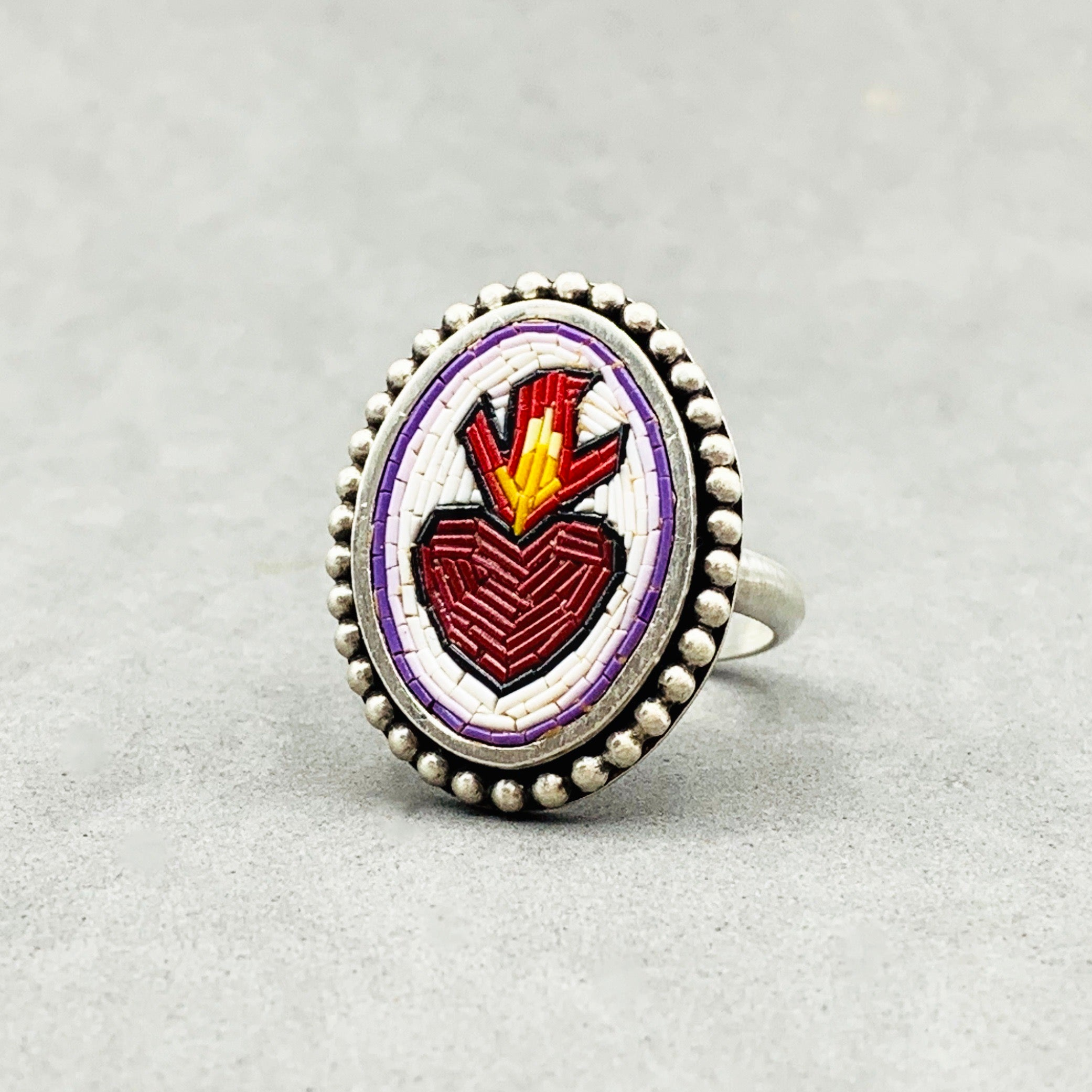 Sacred Heart Ring in Micro Mosaic