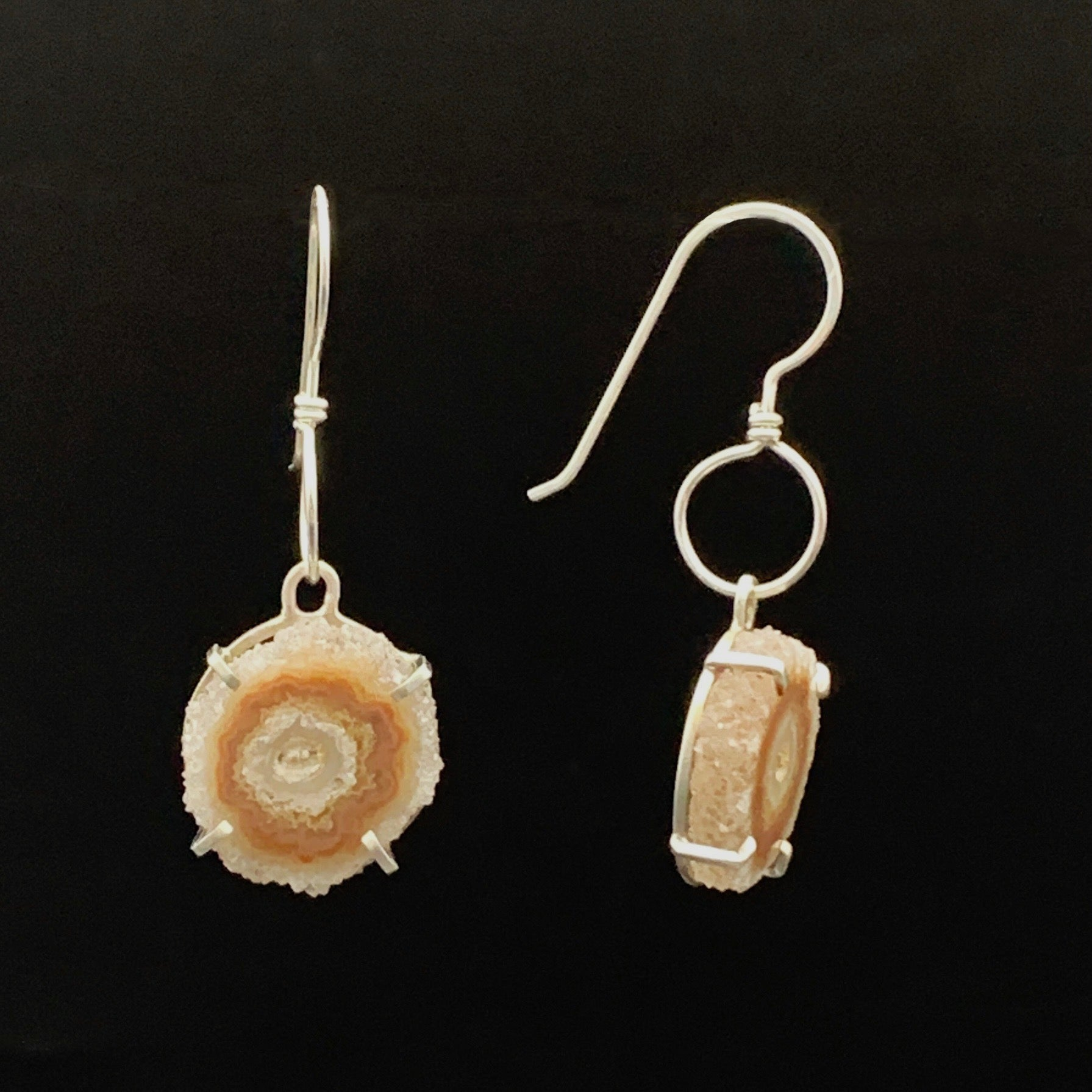 Quartz Crystal Earring with Carnelian Drops