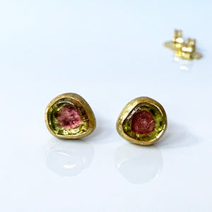 18K Gold Watermelon Tourmaline Studs