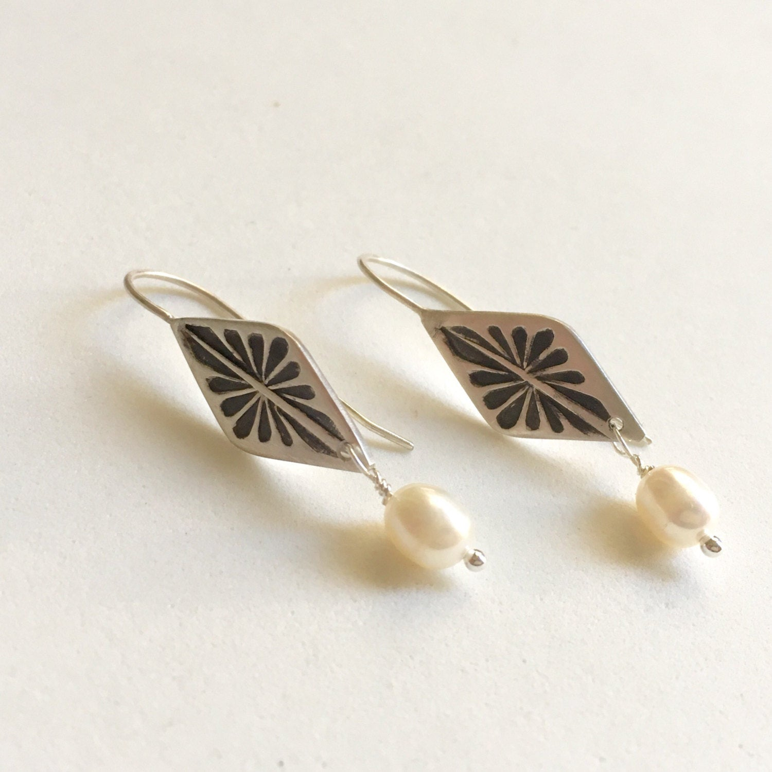Geometric Earrings with White Pearls