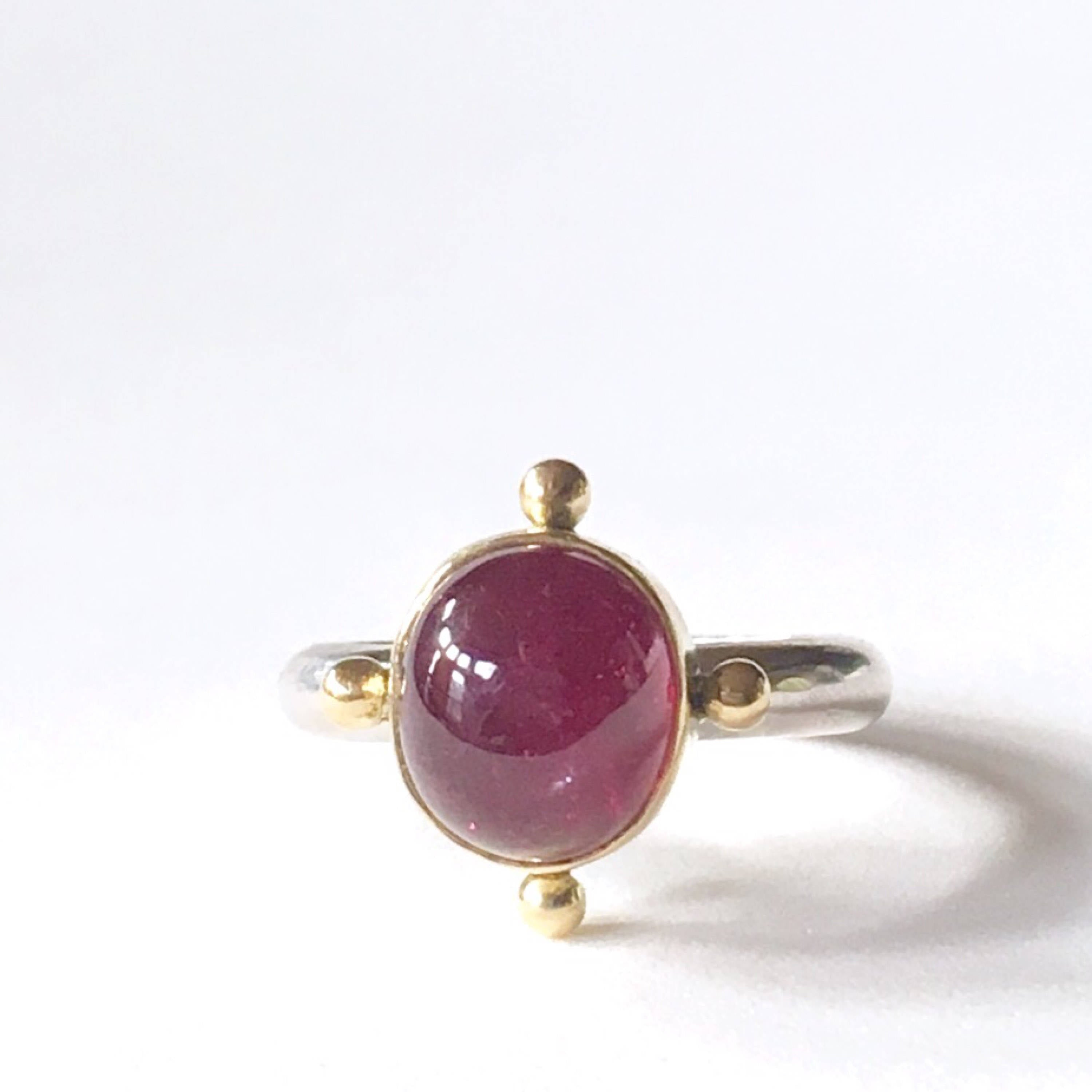 Ruby Ring in 18K Gold and Sterling Silver