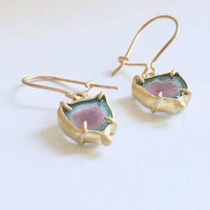 18K Gold Watermelon Tourmaline Earrings