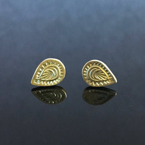 14K Gold Mehndi Stud Earrings