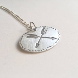 Double Arrow Stamped Pendant