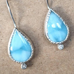 Load image into Gallery viewer, Larimar and Diamond Earrings
