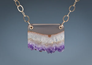 Amethyst Crystal in Gold Pendant